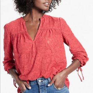 Lucky Brand Clip Jacquard Peasant Top